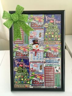 Pennsylvania Lottery Tickets in picture frame for gift or Chinese Auction item.