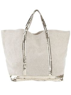 Stone linen tote from Vanessa Bruno featuring pale gold sequin embellishment and pale gold sequin top handles. The bag is unlined with no closure and has an internal zip fastening pocket.