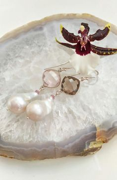Smokey and Rose Quartz Pearl Sterling by EmeraldDesignJewelry