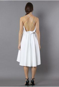Luxurious Cross-strap Open Back Dress in White - Retro, Indie and Unique Fashion