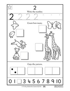 In this coloring math worksheet, your child will practice writing the number 2 and counting up to 2 items.