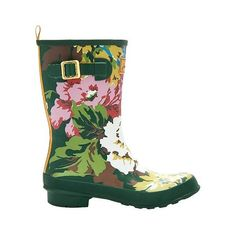 Women's Joules Rain Boot Molly Welly - Green ($70) ❤ liked on Polyvore featuring shoes, boots, apparel, footwear, green, rain boots, green rubber boots, wellies boots, green wellington boots and wellies shoes