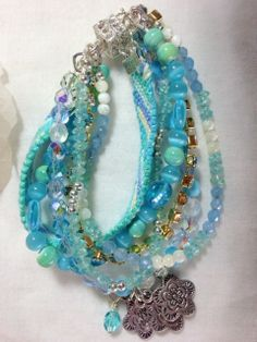 Ocean Blues Multi Strand 6 Friendship Style by MAGICALUNIVERSE, $95.00