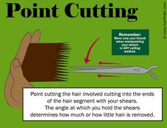 Point cutting to texturize hair