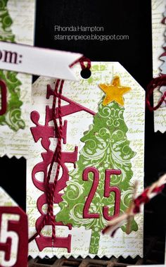 wonderful words: holiday, Stamp n Piece: Christmas Tree Tags - PTI October Blog Hop
