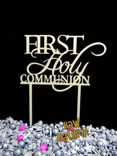 First Holy Communion Sign/Tag Cake Topper