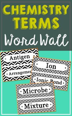 150 Chemistry Vocabulary Word Wall Terms With EDITABLE Cards