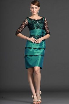 Bateau Silk Like Satin Fancy Summer Misses Knee Length Mock Two Piece Taffeta Mother Of The Bride Dress