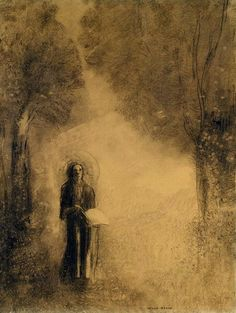 The Walker, Study for 'The walking Buddha', 1890-1895, Odilon Redon. (1840 - 1916) - Charcoal on Paper -