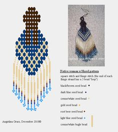 Native woman with Shawl beaded earring pattern