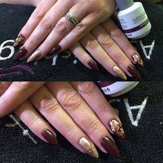 Perfect match gel polish on soft stiletto shaped nails autumn colours