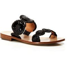 Jack Rogers Flat Slide Sandals - Lauren ($128) ❤ liked on Polyvore featuring shoes, sandals, black, kohl shoes, slide sandals, black flat shoes, synthetic shoes and jack rogers