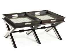 "19""H X 42""W X 28""D Cocktail Table with Butler Tray Two Removable Trays Legs Trimmed In Eglomise Cocktail table with dual removable butler trays (28 H x 2075 W x 3 D each) with eglomise geometric pattern"