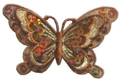"Amazon.com: [Single Count] Custom and Unique (3"" by 2"" Inches) Mother Nature Beautiful Bugs Sequins Rhinestone Butterfly Iron On Embroidered Applique Patch {Hues of Brown}"