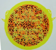 yellow predator screenprint botanical flowers line drawing papercut
