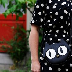 Original handmade Black Cat Leather Bag Cat Bag Cat by LaLisette