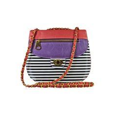 Nila Anthony Color Block Stripe Crossbody Purple/Pink/Black