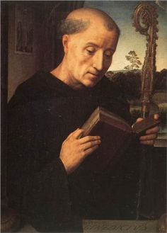 Portinari Triptych (left wing, St. Benedict) - Hans Memling. 1487. Oil on panel. 45 x 34 cm. Galleria degli Uffizi, Florence, Italy.