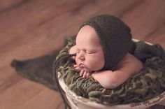 Beautiful dark green bonnet and wrap set handmade in a lux kid mohair and silk yarn.