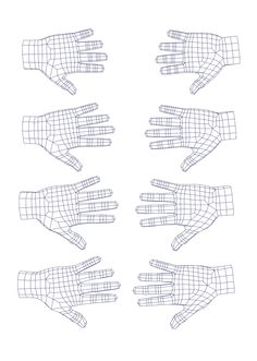 Estudo da estrutura poligonal de uma mão em 3D. Objetivo foi atingir o a borda do pulso com apenas 10 vértices.