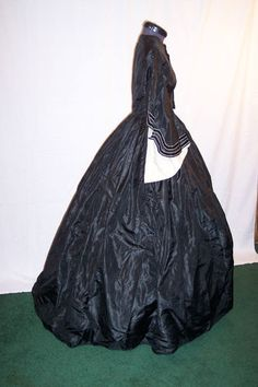 antique black silk dress  1859  Civil War Victorian