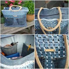 Crochet denim combination