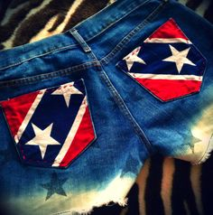 Rebel Flag Dip-Dyed Upcycled Patriotic Shorts on Etsy, $30.00