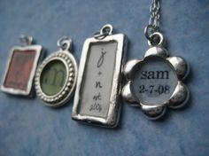 Personalized Pendant Silver Charm Flower by JewelryMadebyMaggie
