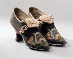 1700-1750 Women's shoes; brown leather and embroidered silk
