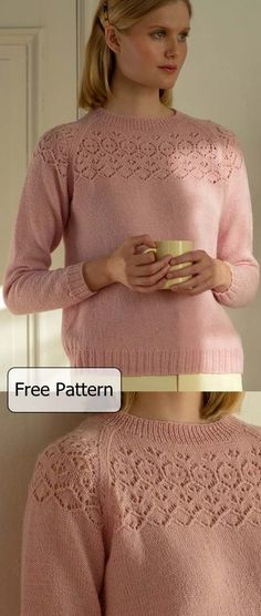 Free Knitting Pattern for a Women's Knitted Sweater With Lace Yoke Stunning free knitting pattern for a sweater for women with a lace yoke and raglan sleeves. Knitting , lace processing i. Easy Sweater Knitting Patterns, Free Knitting Patterns For Women, Lace Knitting, Knitting Ideas, Jumpers For Women, Sweaters For Women, Ladies Jumpers, Womens Knit Sweater, Knit Sweaters