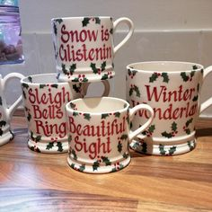 Personalised Little Holly Mugs 2016 - Emma Bridgewater. Christmas Kitchen, Christmas Mugs, Christmas Morning, Christmas Time, Pottery Painting, Ceramic Painting, Susie Watson, Emma Bridgewater Pottery, Diy Mugs