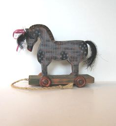Vintage Wooden Horse pull toy Primitive Folk by jewelryandthings2, $32.00