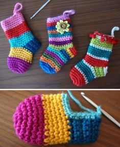 Christmas Socks - Free Pattern (Beautiful Skills - Crochet Knitting Quilting) Photo above © AngieThis crochet pattern / tutorial is available for free. Afghan Crochet Patterns, Crochet Stitches, Knitting Patterns, Knit Crochet, Crochet Afghans, Crochet Baby Booties, Crochet Slippers, Knit Headband Pattern, Crochet Gifts