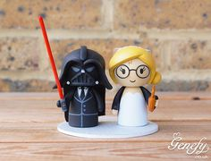 Darth Vader groom and Harry Potter bride wedding cake topper by Genefy Playground https://www.facebook.com/genefyplayground