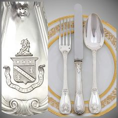 PUIFORCAT: 36pc Antique French Sterling Silver Armorial Dinner : The Antique Boutique ® | Ruby Lane
