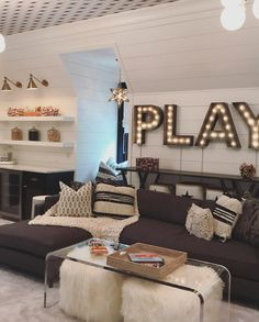 Every inch of this space is filled with form, function and whimsy! The black and white… Room Design Teen Hangout Teen Lounge Rooms, Teen Game Rooms, Teen Hangout Room, Teen Playroom, Attic Playroom, Teen Boys Room Decor, Teen Basement, Kids Room, Modern Basement