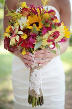 wildflower bouquet, sunflower bouquet, red and yellow wedding bouquet, bouquet with lace detail