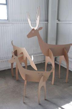 Cardboard Christmas Deer Family by MettaPrints
