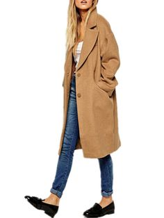 Women Button Lapel Pocket Camel Long Coats