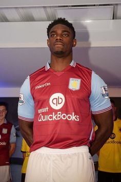 Aston Villa FC launch their new home and away kit at Villa Park. Pictured is new player Micah Richards. 07/07/15