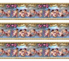 Dolls House Wallpaper Border 77 ins long Quality Paper Doll House Wallpaper, Diy Wallpaper, Wallpaper Paste, Wallpaper Borders, Miniature Crafts, Miniature Dolls, Diy Tapete, Victorian Wallpaper, Decoupage Vintage