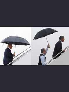 Trump carries his own umbrella  Obama has someone else hold his! A man who thinks he is to good to hold an umbrella..
