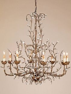 Currey & co crystal bud chandeliers