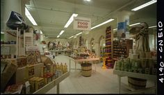 Mediterranean Food Shop of the Mediterranean bazaar held at Stix, Baer & Fuller in 1971. Mac Mizuki Photography Studio Collection | Missouri History Museum #retrodecor #shopping