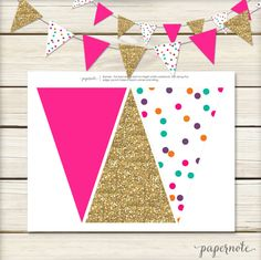 Instant Download // Hot Pink and Gold Banner // by papernoteandco