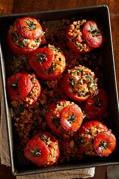Stuffed Tomatoes This classic Greek dish is the perfect vehicle for summer heirloom tomatoes or store-bought on-the-vine tomatoes. For the best flavor, serve the tomatoes slightly warm or at room temperature. Stuffed tomatoes also freeze well, so consider Greek Recipes, Veggie Recipes, Lunch Recipes, Plant Based Recipes, Whole Food Recipes, Vegetarian Recipes, Cooking Recipes, Dinner Recipes, Healthy Recipes