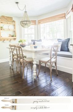 New England Farmhouse Neutral Paint Color Scheme | Read the color story of this New England Farmhouse and how to discover the perfect neutrals.  #diningroom #diningtable #table #farmhouse #neutraldecor #modernfarnhouse