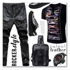 """""""Street Style"""" by jecakns ❤ liked on Polyvore featuring men's fashion, menswear, patentleather, leatherpants, rockerstyle and rosegal"""