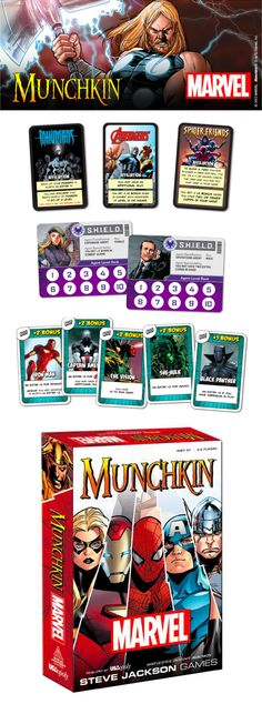 Prepare to battle the ultimate villains from the Marvel Universe now in MUNCHKIN: Marvel Edition! This 168-card rendition of America's favorite monster slaying game features art from the Marvel Universe alongside new Munchkin game twists. Now you can battle Ultron, Venom, and more as you attempt to defeat the greatest foes of the Marvel Universe! #Munchkin #Marvel #MarvelUniverse