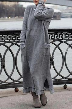 Lace Patchwork Solid Color Long Sleeve Maxi Dress For Women is comfortable, see other simple casual dress on NewChic Mobile Long Sleeve Cotton Dress, Long Sleeve Maxi, Long Sleeve Sweater, Loose Sweater, Cotton Sweater, Sweater Hoodie, Dress Long, Long Sleeve Shirts, Pullover Mode